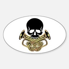 Skull with Tuba Crossbones Decal