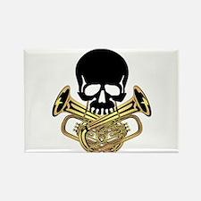 Skull with Tuba Crossbones Rectangle Magnet