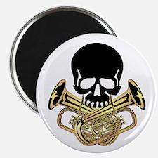 """Skull with Tuba Crossbones 2.25"""" Magnet (100 pack)"""