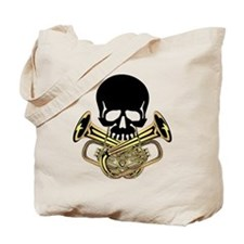 Skull with Tuba Crossbones Tote Bag