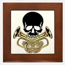 Skull with Tuba Crossbones Framed Tile