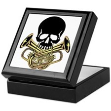 Skull with Tuba Crossbones Keepsake Box