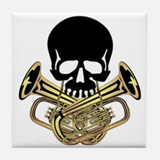 Skull with Tuba Crossbones Tile Coaster