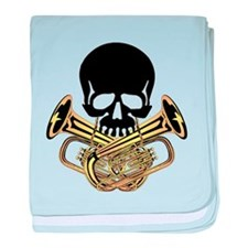 Skull with Tuba Crossbones baby blanket