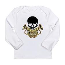 Skull with Tuba Crossbones Long Sleeve T-Shirt
