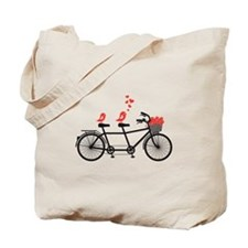 tandem bicycle with cute love birds, vector Tote B