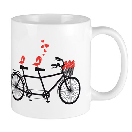 tandem bicycle with cute love birds, vector Mug