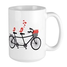 tandem bicycle with cute love birds, vector Mug