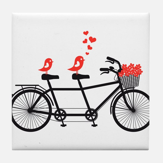 tandem bicycle with cute love birds, vector Tile C