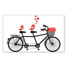 tandem bicycle with cute love birds, vector Sticke