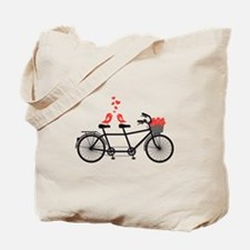 tandem bicycle with cute love birds Tote Bag