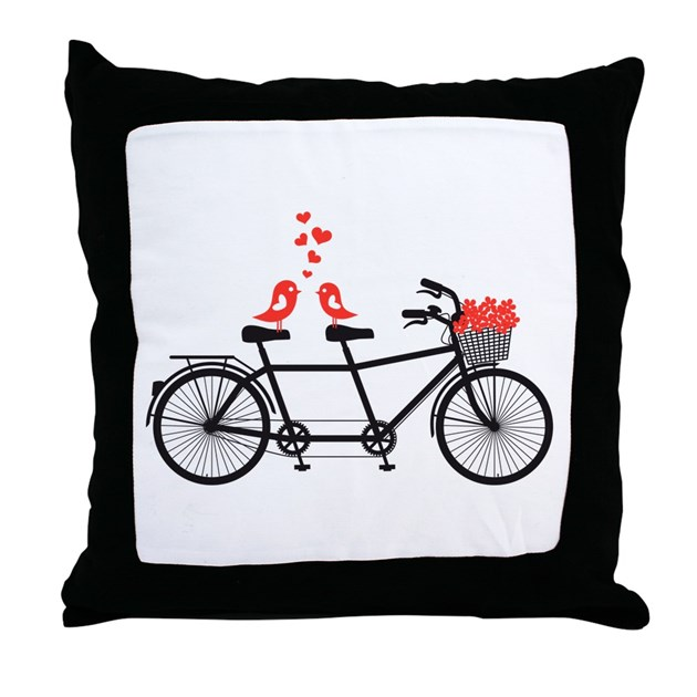 Cute Love Pillows : tandem bicycle with cute love birds Throw Pillow by listing-store-75147373