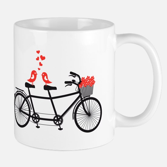 tandem bicycle with cute love birds Mug