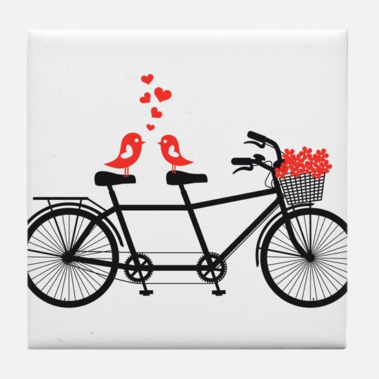 tandem bicycle with cute love birds Tile Coaster