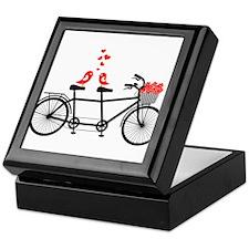 tandem bicycle with cute love birds Keepsake Box