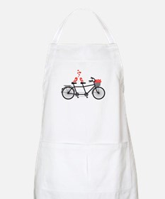 tandem bicycle with cute love birds Apron