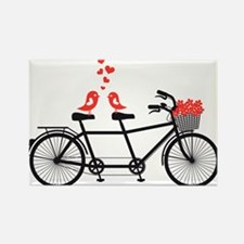 tandem bicycle with cute love birds Rectangle Magn