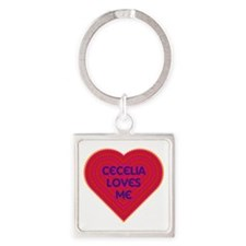 Cecelia Loves Me Square Keychain