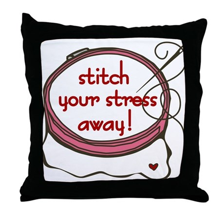 Stitch Your Stress Away Throw Pillow by listing-store-71974099