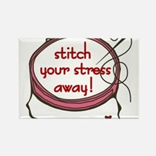 Stitch Your Stress Away Rectangle Magnet
