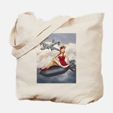 Bomber Girl WWII Pin-Up Tote Bag