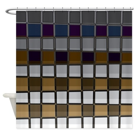 Brown Blue And Gray Shower Curtain By CopperCreekDesignStudio
