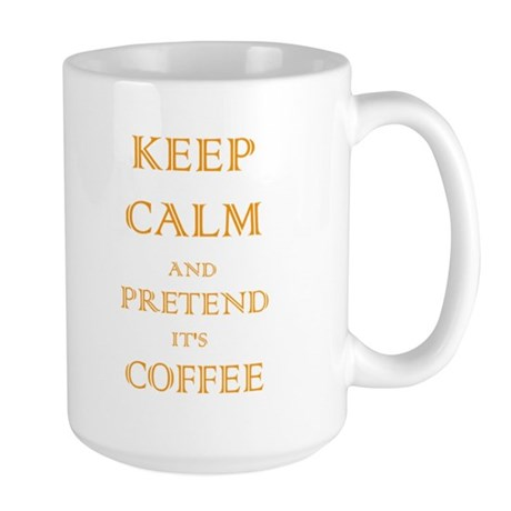 Coffee - Keep Calm (Orange) Large Mug