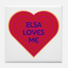 Elsa Loves Me Tile Coaster