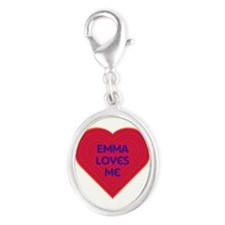 Emma Loves Me Silver Oval Charm
