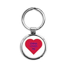 Emma Loves Me Round Keychain