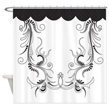 Black and White Swirly Pattern Shower Curtain