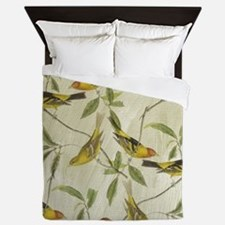 Vintage Yellow Birds Queen Duvet