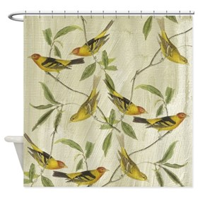 Vintage Yellow Birds Shower Curtain