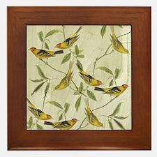 Vintage Yellow Birds Framed Tile
