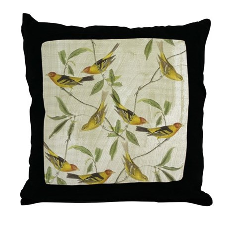 Yellow Bird Throw Pillows : Vintage Yellow Birds Throw Pillow by be_inspired_by_life