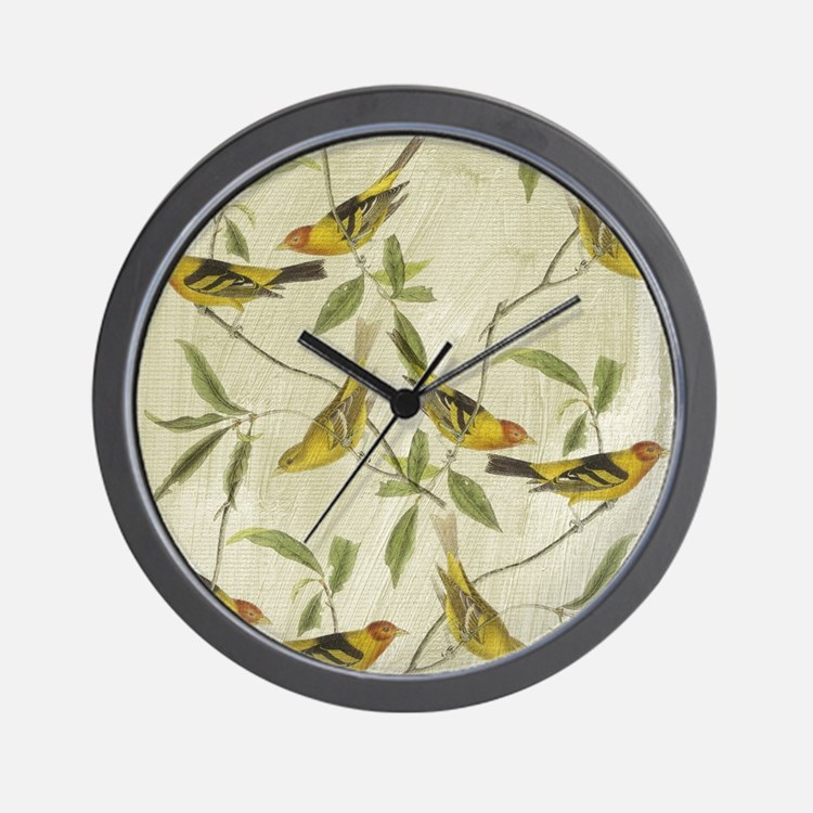 Vintage Yellow Birds Wall Clock