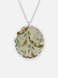 Vintage Yellow Birds Necklace