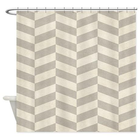 Neutral Zigzag Pattern Shower Curtain By BestShowerCurtains