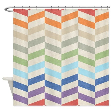 Grey And White Shower Curtains Zig Zag Background