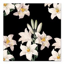 """Black and White Lilies Square Car Magnet 3"""" x 3"""""""