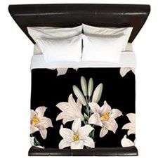 Black and White Lilies King Duvet