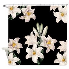 Black and White Lilies Shower Curtain