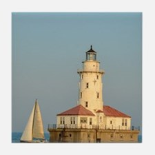 Chicago Harbor Lighthouse Tile Coaster