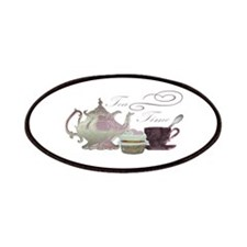 Tea Time Pink Teapot, Teacup and Cupcake Art Patch