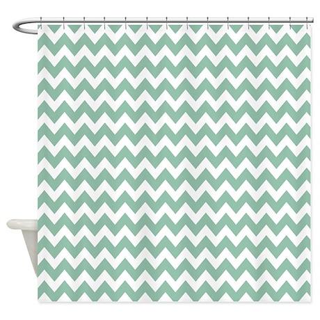 Mint and White Chevron Zigzag Pattern Shower Curta