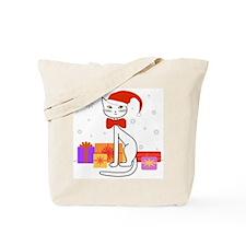 Santa cat in snow - Tote Bag