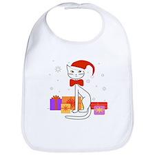 Santa cat in snow - Bib