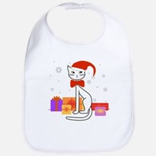 Santa cat in snow - Bib