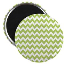 "Lime and White Chevron Zigzag Pattern 2.25"" Magnet"