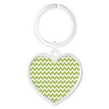 zigzag white lime Heart Keychain